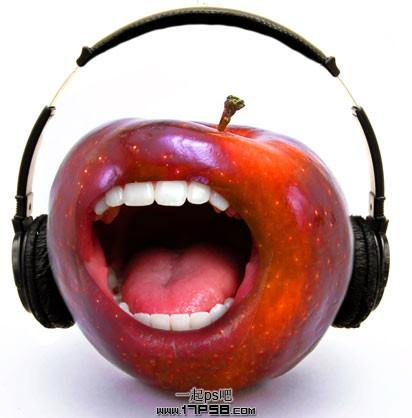 photoshop教程   将嘴图片拖入苹果图片中,用钢笔画出嘴的