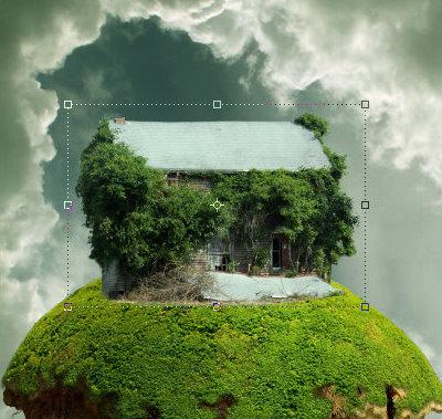 素材 合成/插入旧房子的素材。选择擦除底部区域,使用图层蒙版,在前面的...