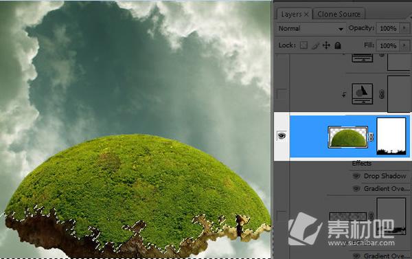 制作 photoshop/在绿树的底部擦除添加图层蒙版。尝试创建如图的轮廓。你可以...