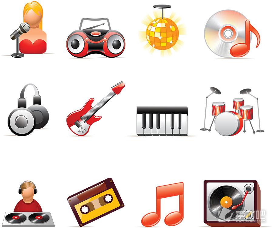 音乐达人卡通图标矢量图素材