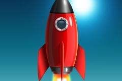 素材/太空火箭图标蓝色背景PSD素材