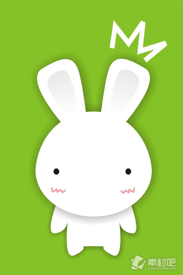 卡通小白兔丰富的表情手机壁纸 动漫图片 素材吧