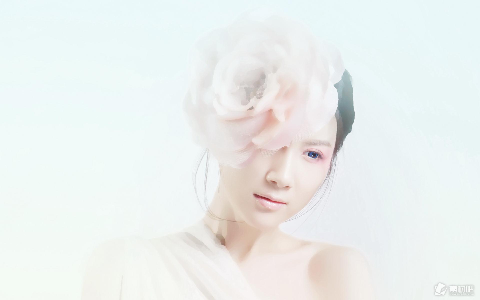 唯美白色天使徐立桌面壁纸