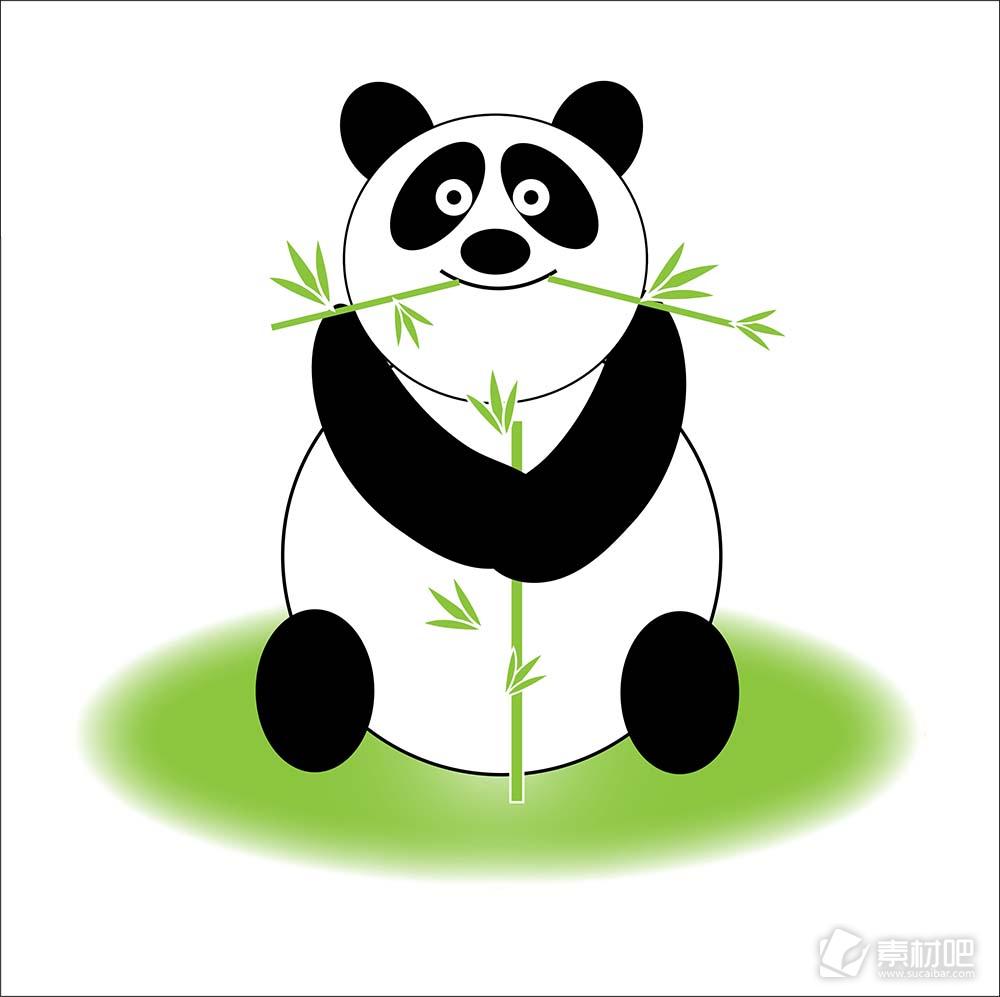 大熊猫吃竹子卡通图片