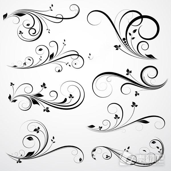 手绘简约黑白线条《简约黑白花纹线条画《简约黑白
