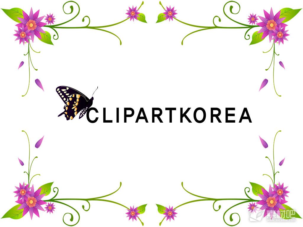 韩国风格蝴蝶花纹边框矢量素材