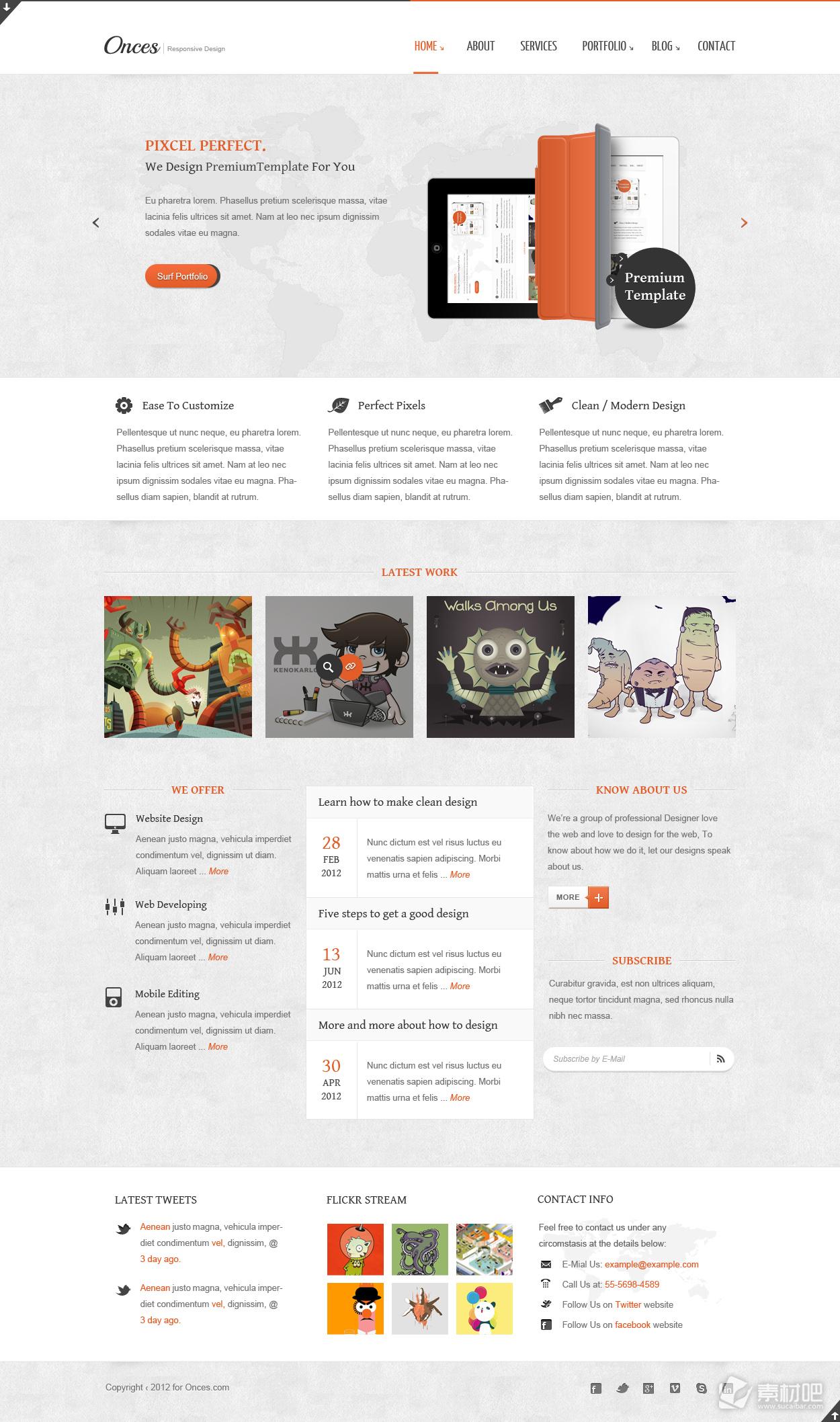 灰色卡通网站首页设计作品