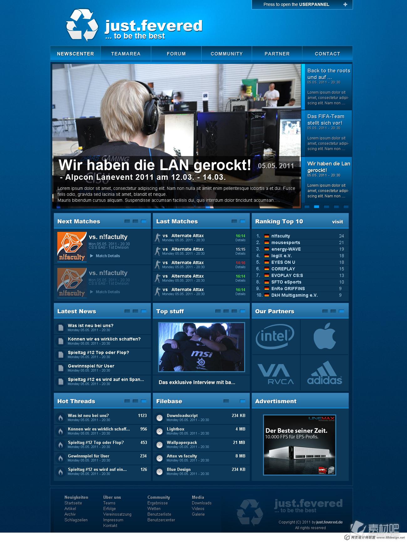 蓝色背景音乐网站首页设计