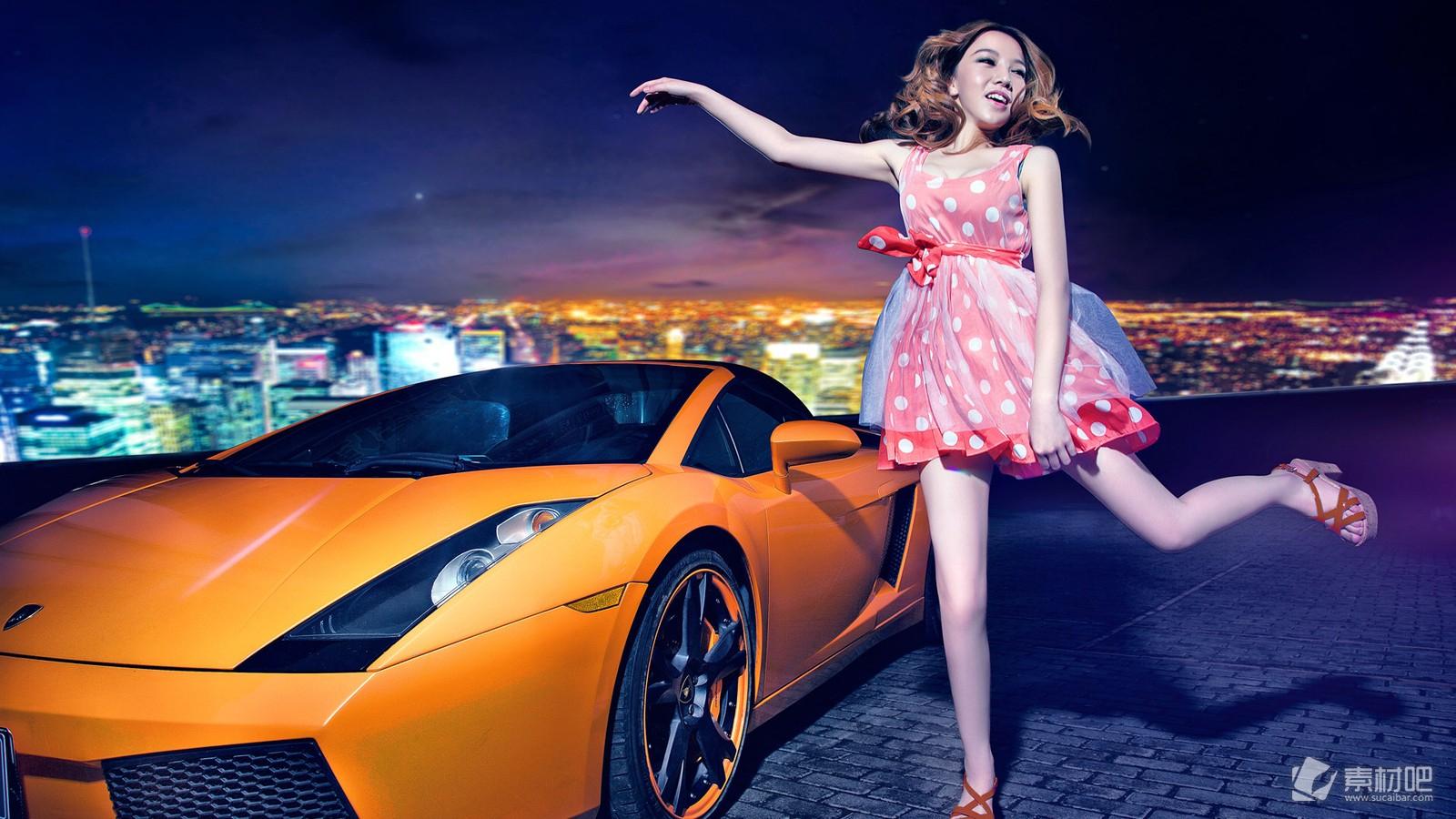 性感美女车模豪车桌面壁纸_美女图片_素材吧