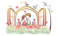简单的卡通爱情故事桌面壁纸