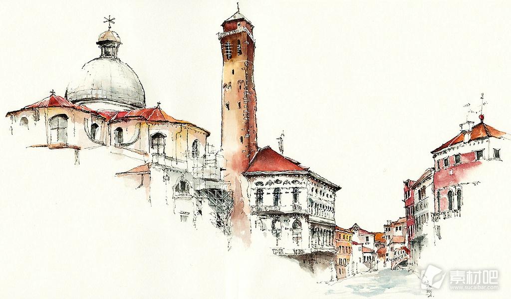 城市风景水粉插画写生图片