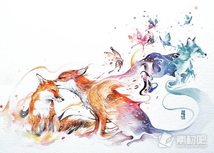 森林麋鹿水彩大自然小清新手绘图片