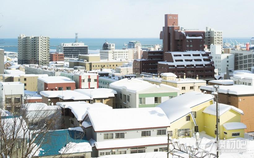 日本北海道小樽冬季唯美雪景桌面壁纸图片