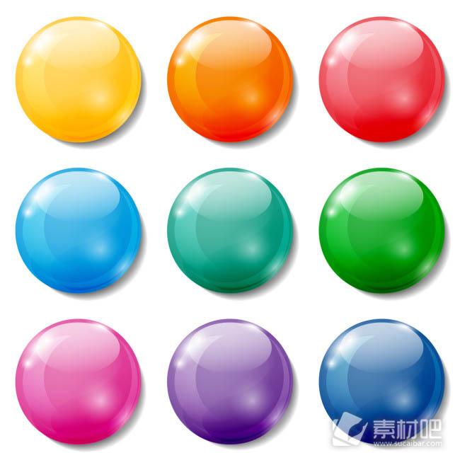 9款彩色水晶球按钮图标矢量图