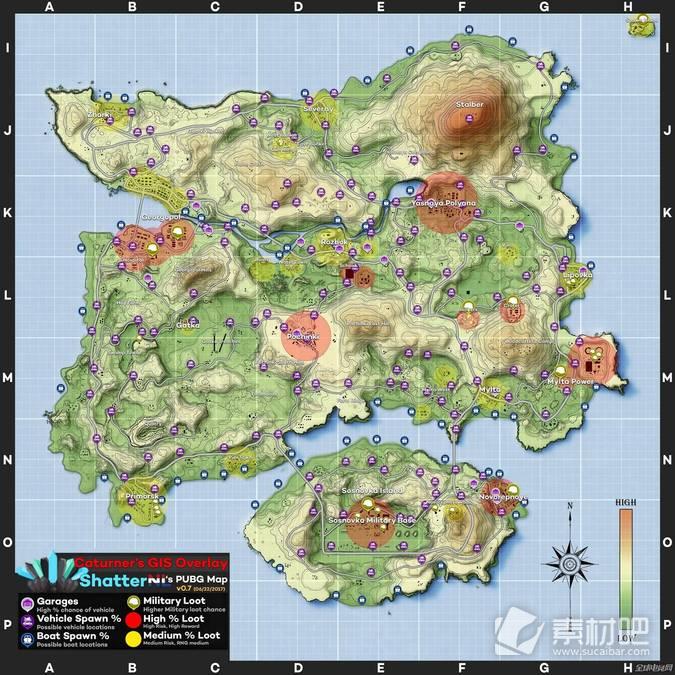 绝地求生新版地图矢量图
