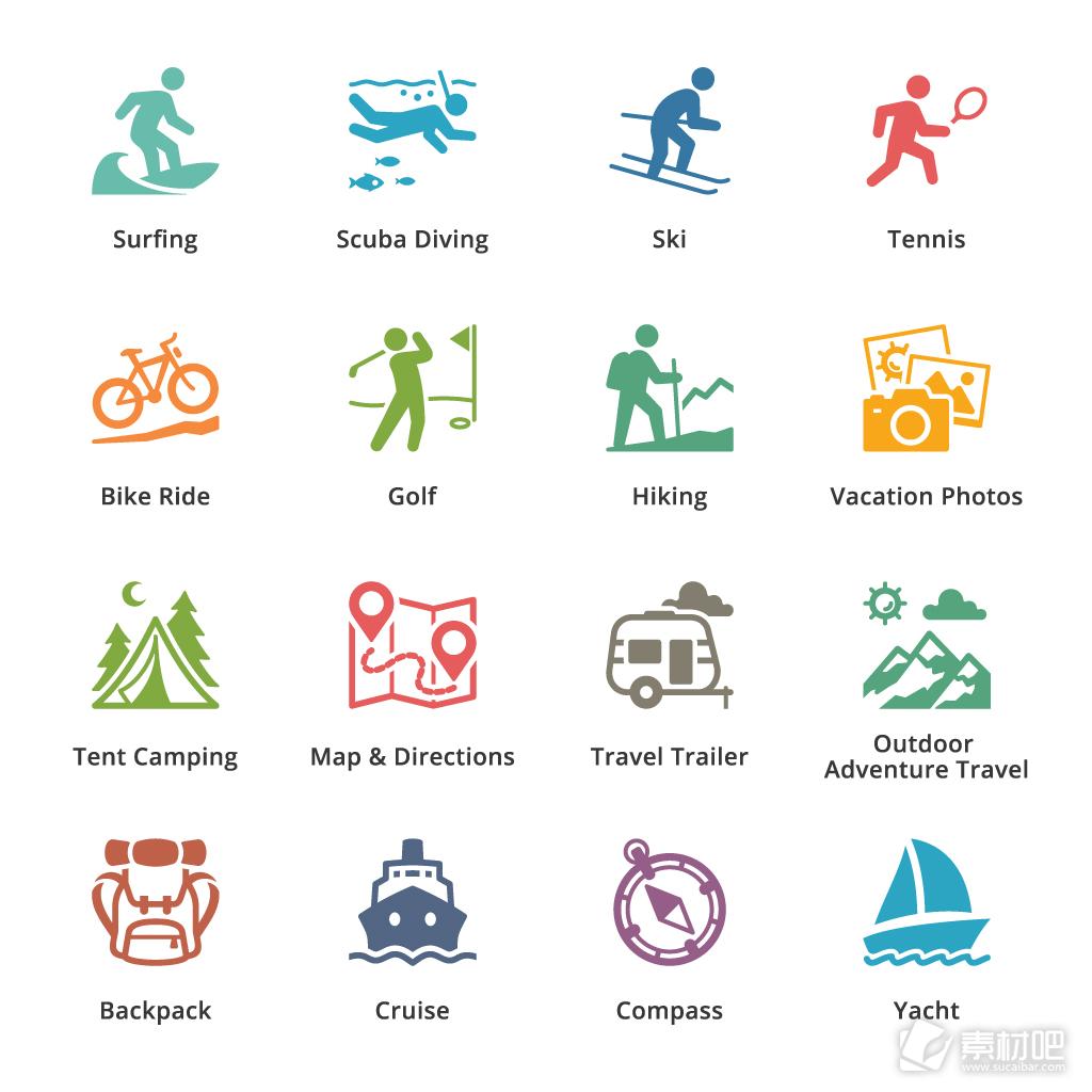16款彩色运动图标icon