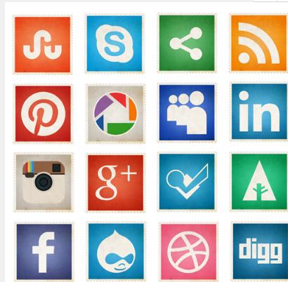邮票风格社交媒体图标下载