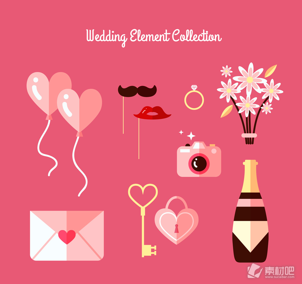 10款扁平化粉色婚礼元素bwin766net必赢亚洲