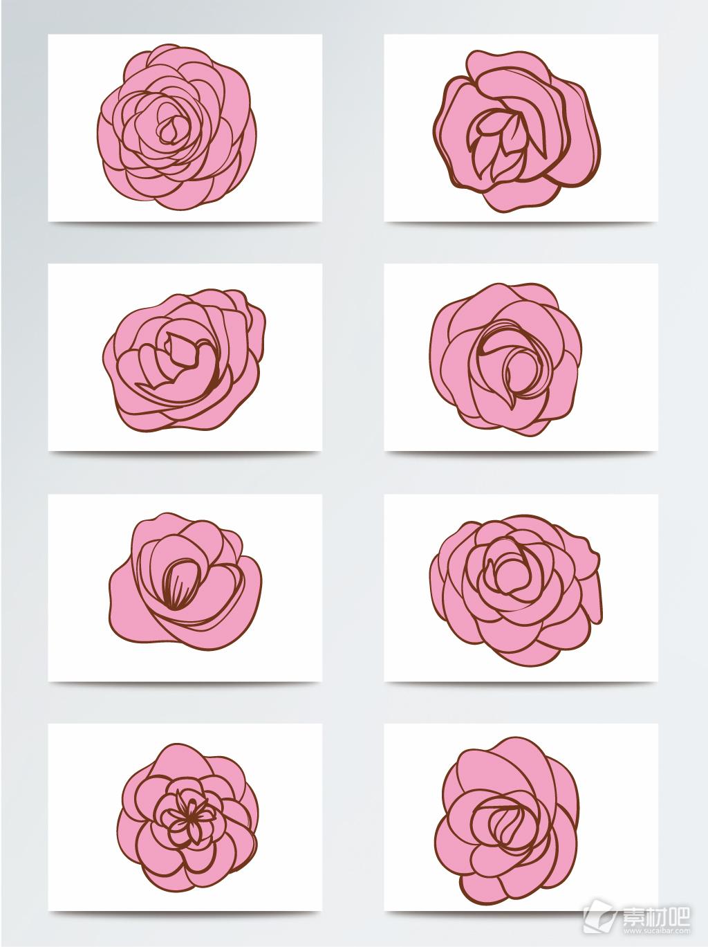 手绘蔷薇花图案