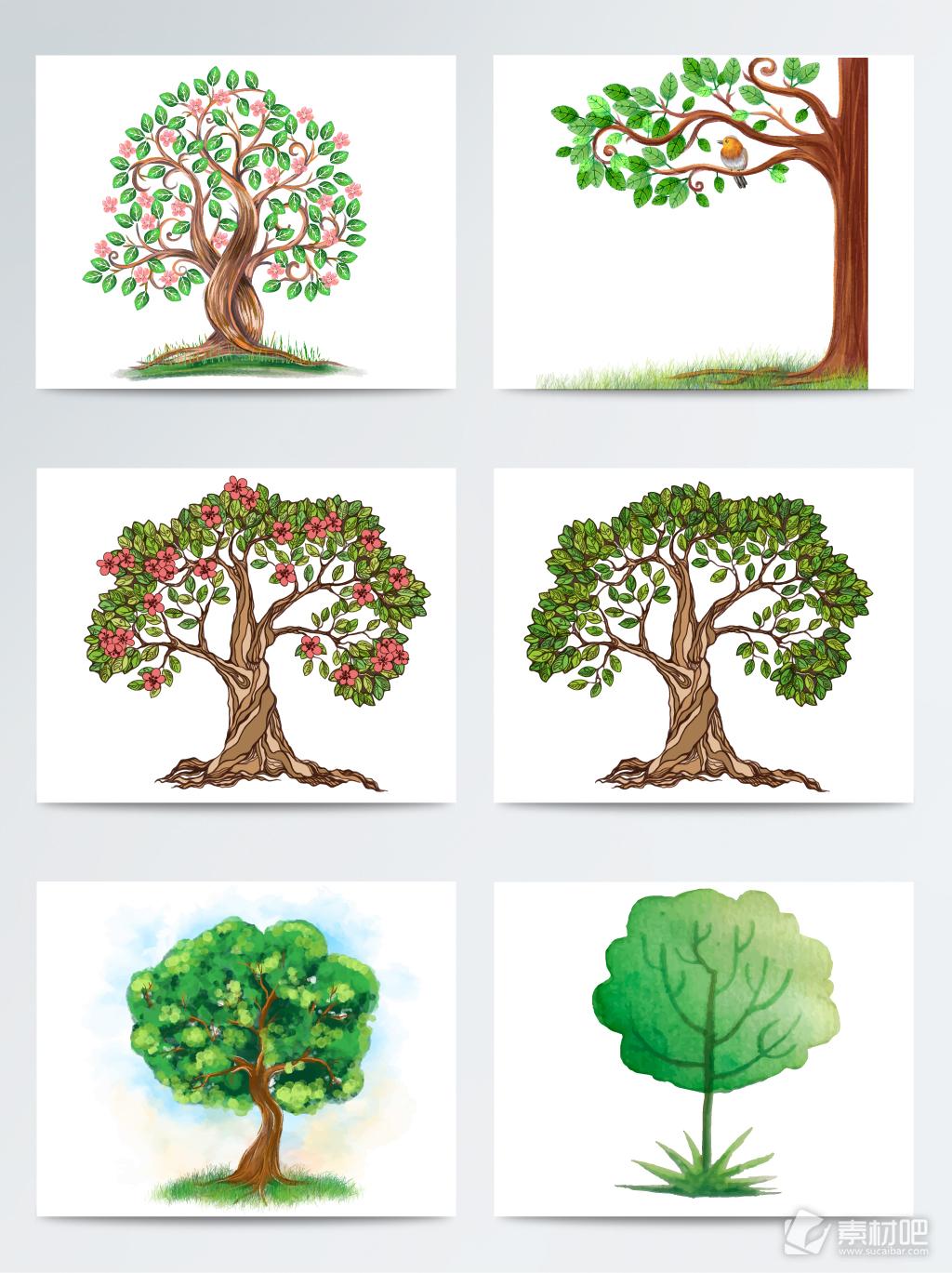 手绘水彩绿树素材