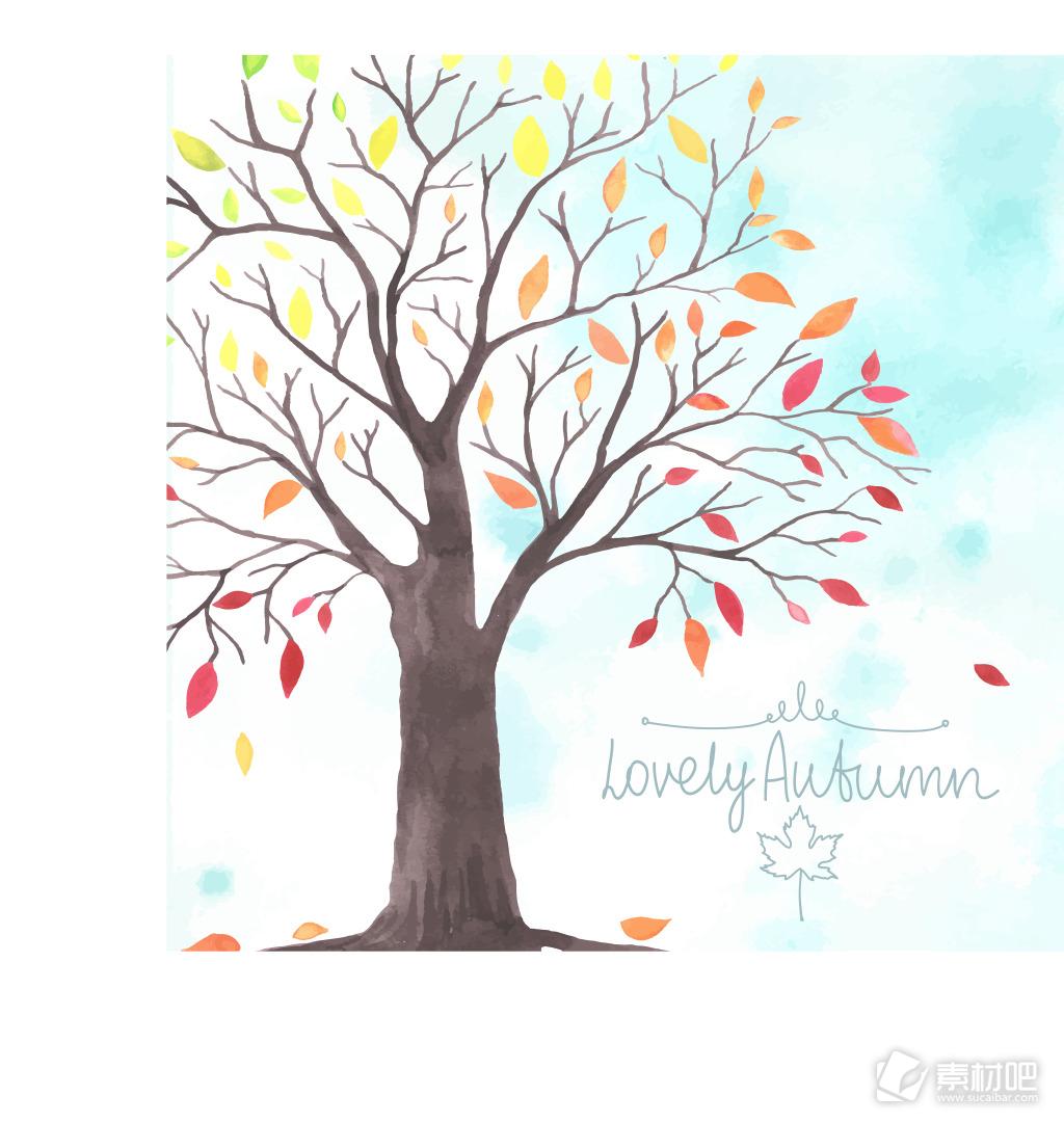 时尚彩色大树插画