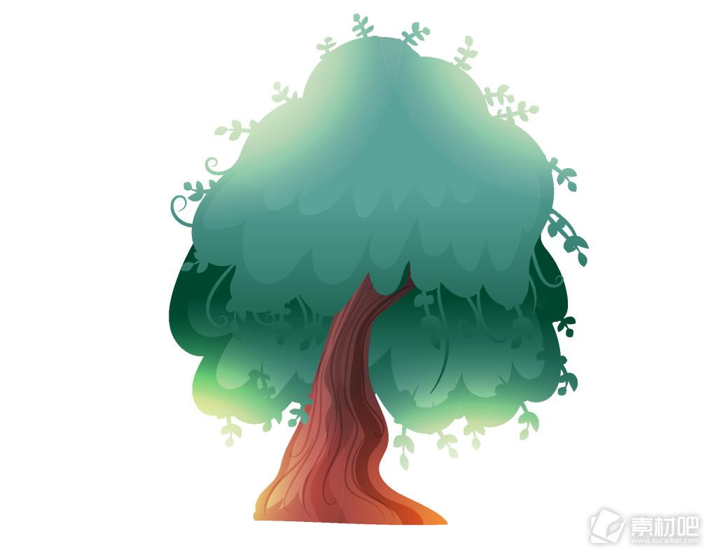 卡通树木装饰矢量元素