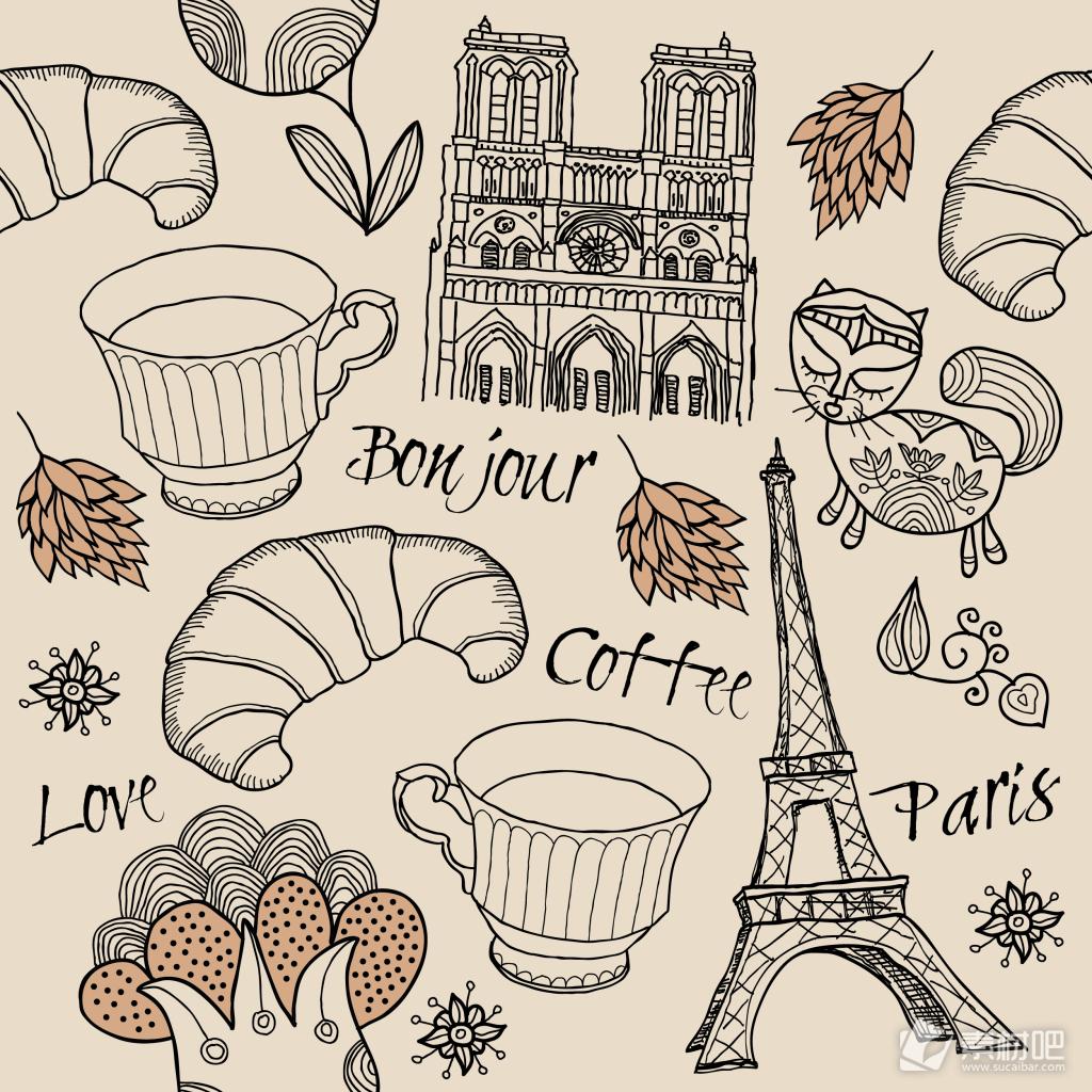 时尚手绘建筑和美食插画