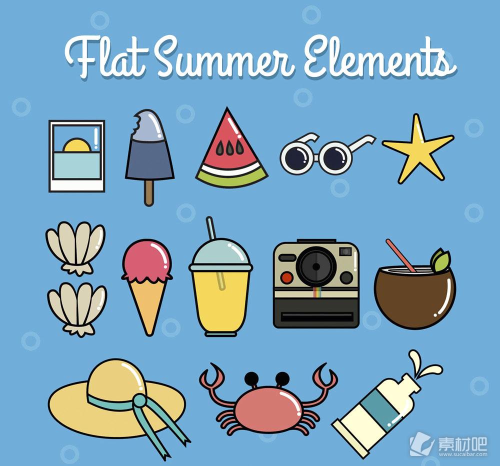14款扁平化夏季元素矢量素材