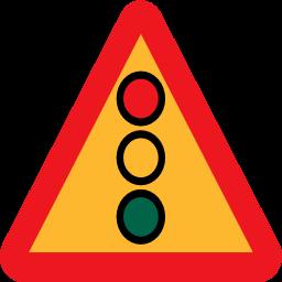 交通警示标志 注意红绿灯图标