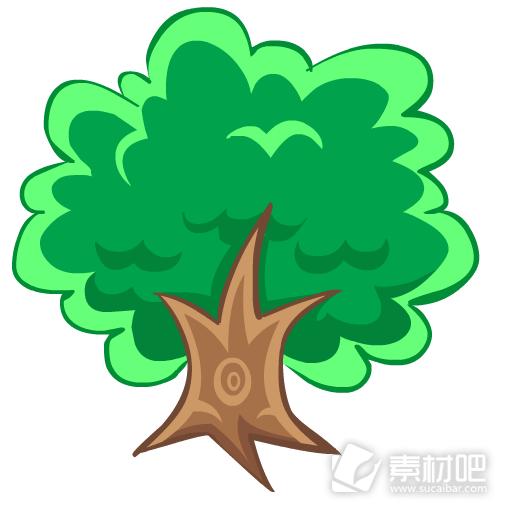 卡通绿色树木图标素材