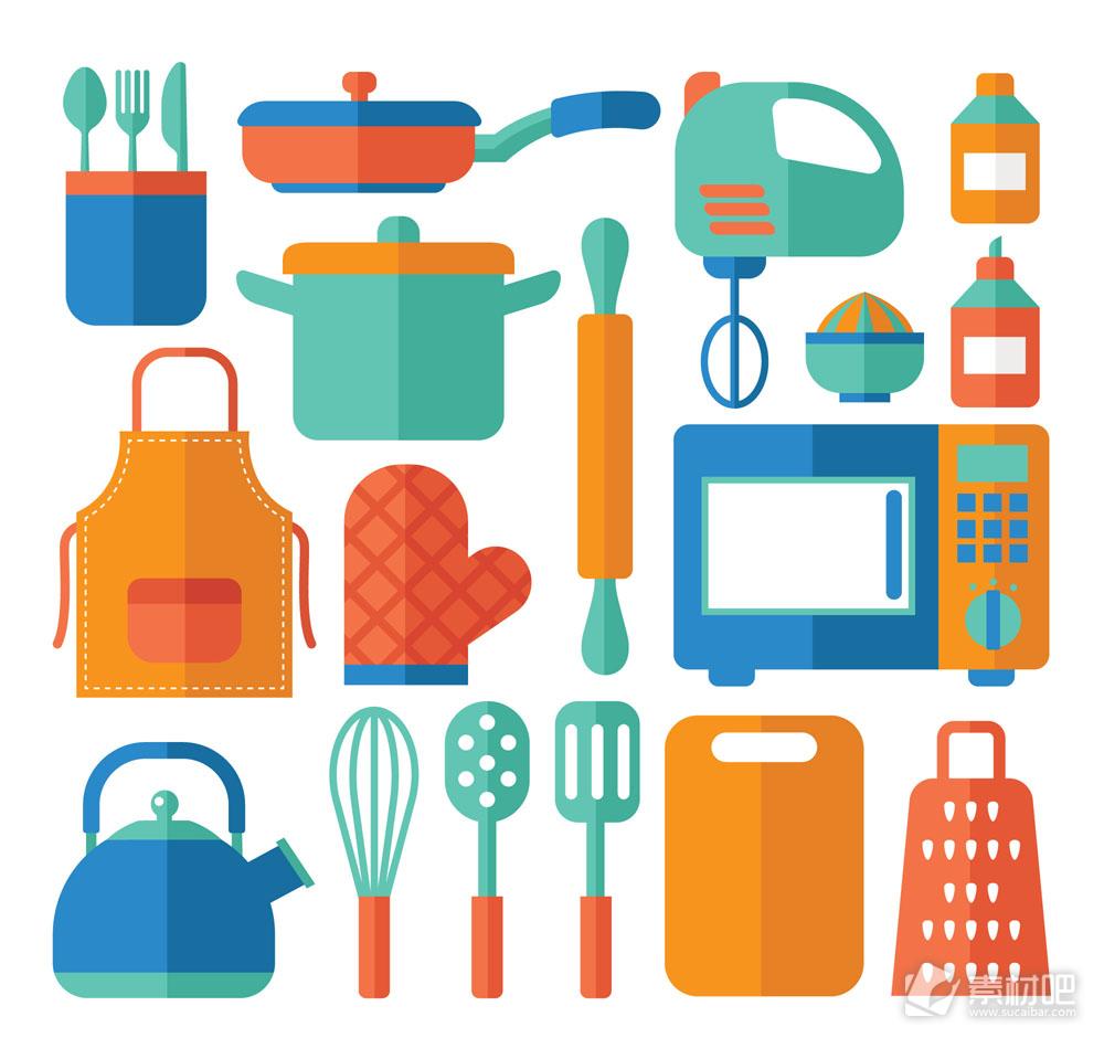 17款彩色扁平化厨房用品矢量素材