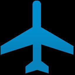 蓝色剪影飞机图标素材