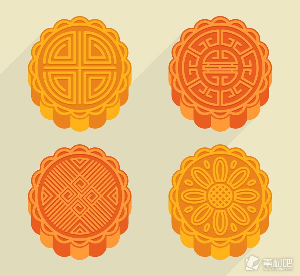 4款美味中秋节月饼矢量素材