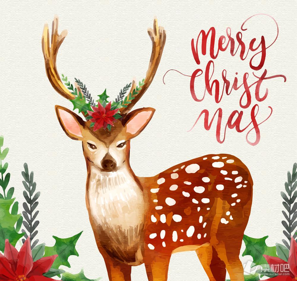 水彩绘圣诞节驯鹿bwin766net必赢亚洲