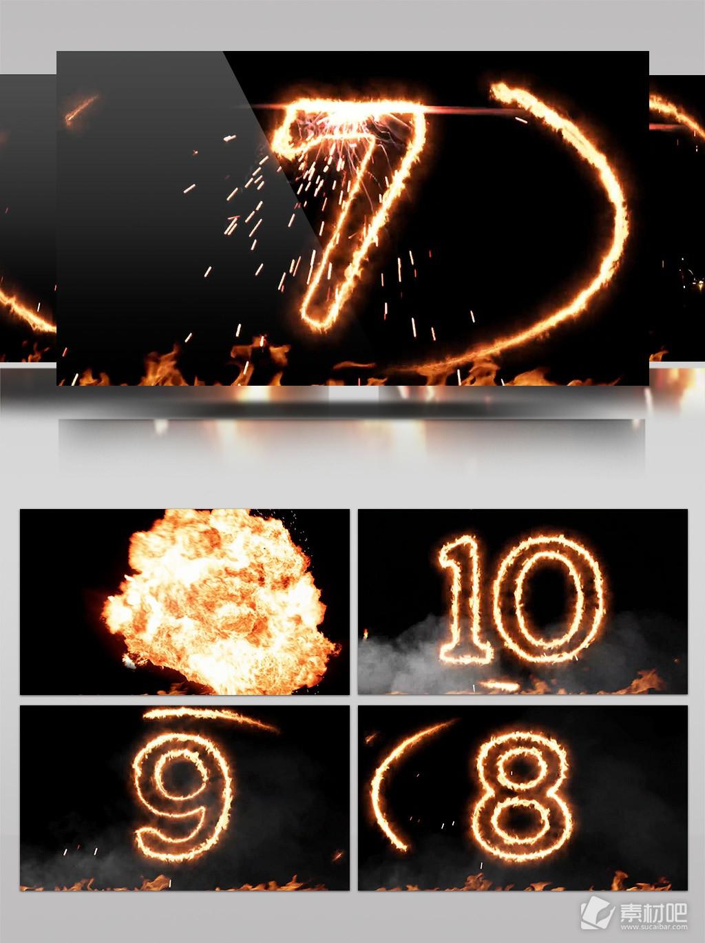 4K火焰爆炸10秒倒计时背景素材