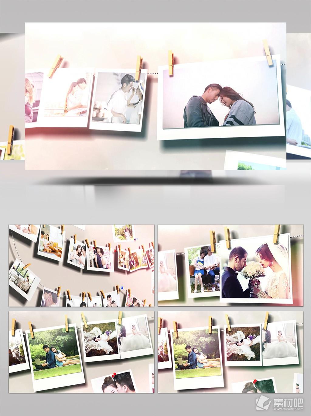 浪漫线夹情侣婚礼爱情相册AE模板