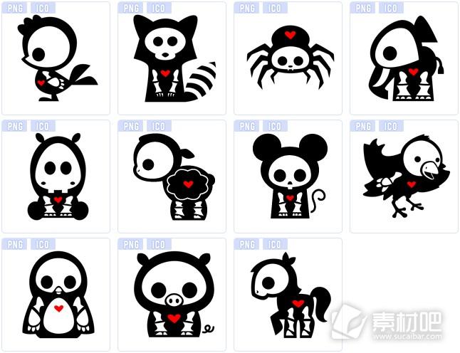 黑色卡通动物图标下载