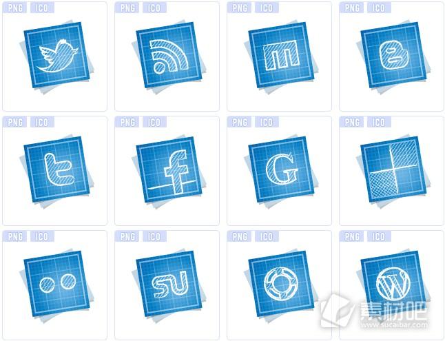 蓝色网络系列图标下载