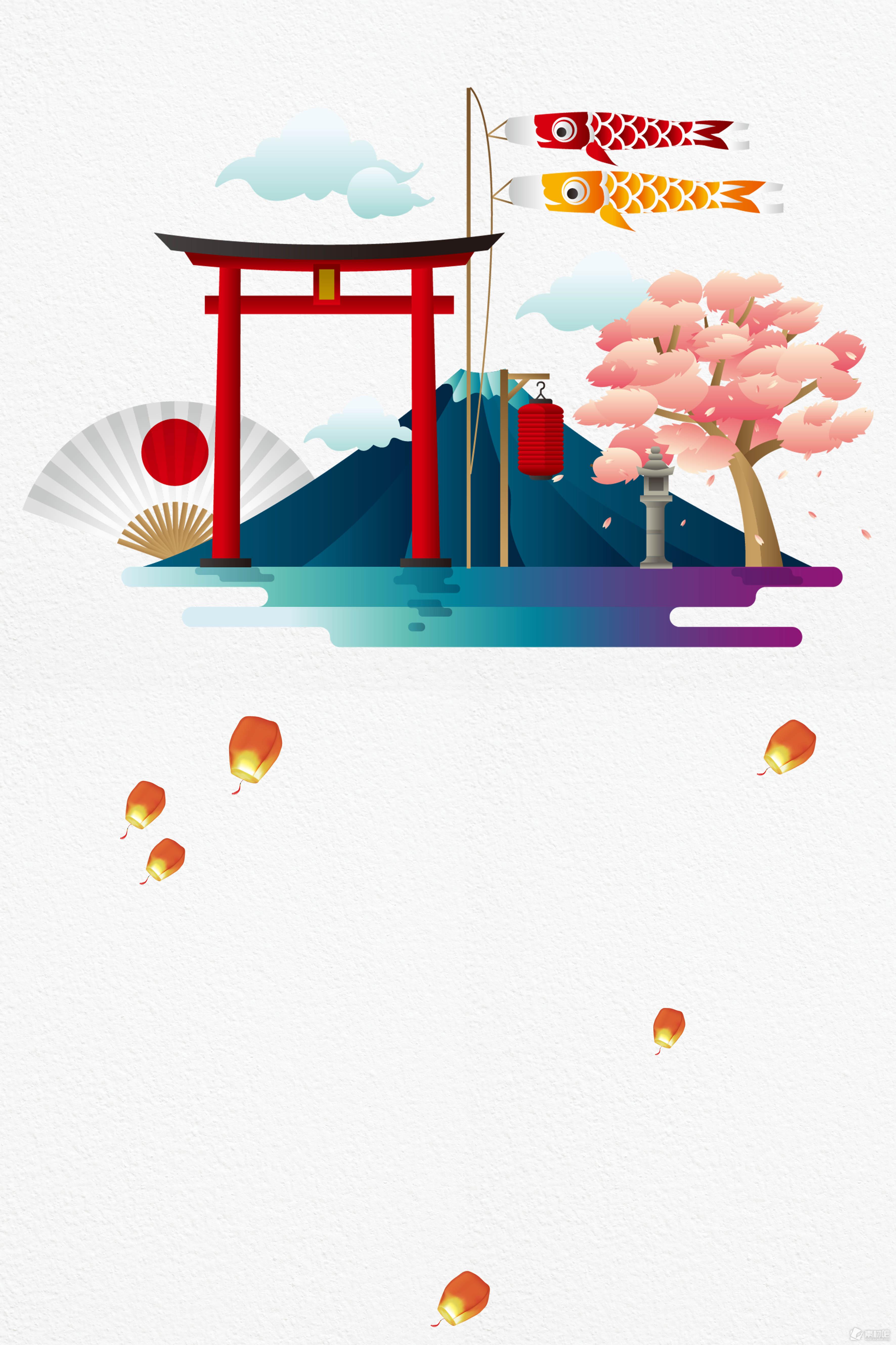 特色日本建筑海报背景