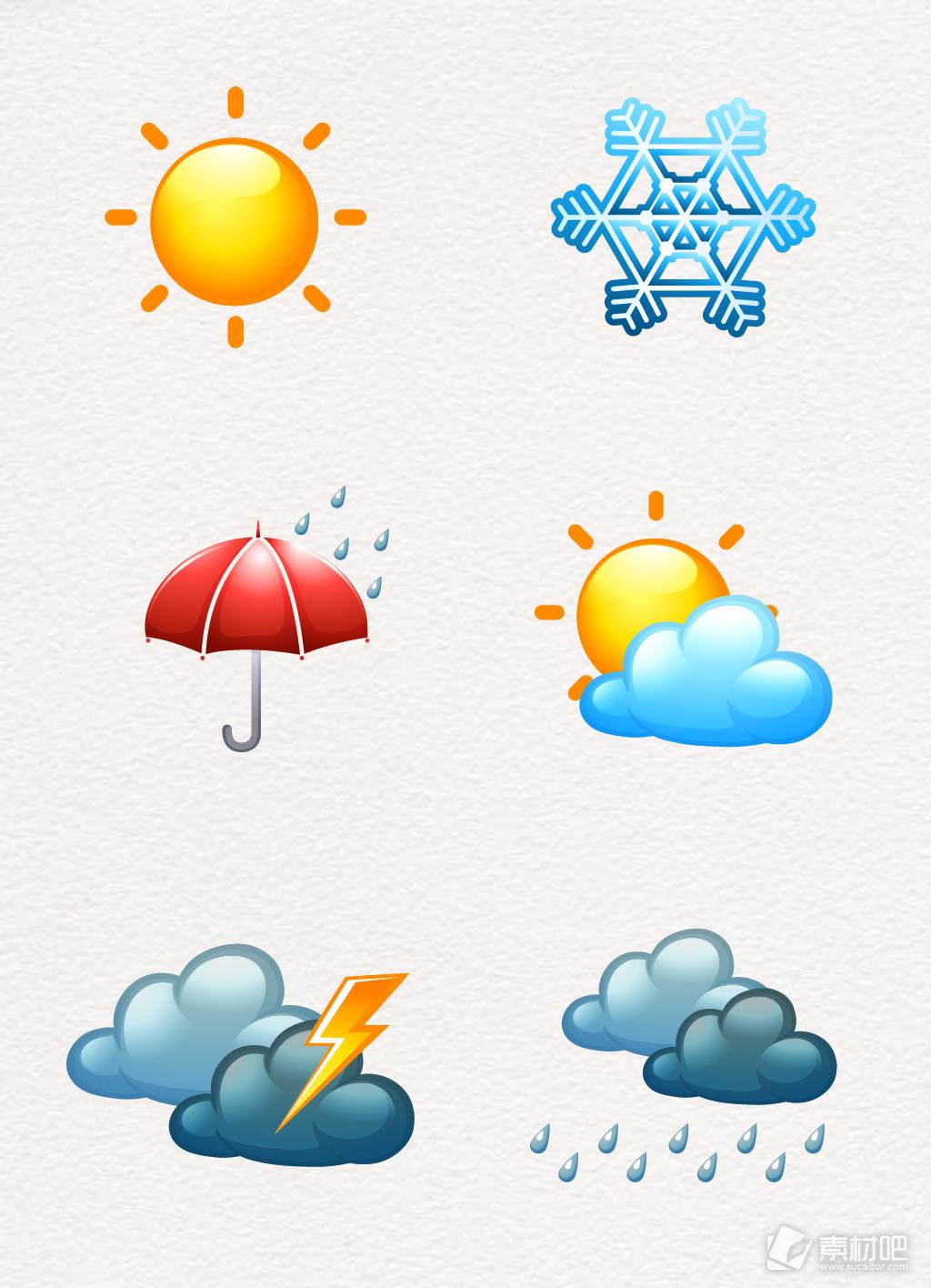 彩色手绘立体天气图标设计