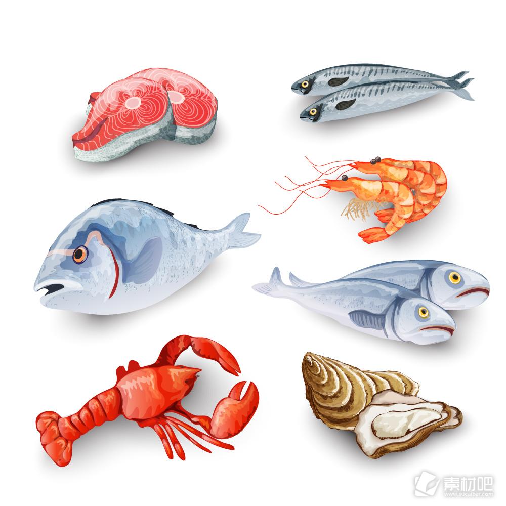 7款创意美味海鲜设计矢量图