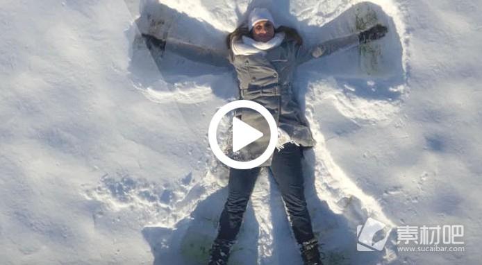 超清航拍在雪地玩耍的人bwin必赢亚洲
